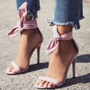 Pink Open Toe Stiletto Heels Ankle Strap Sandals with Bow