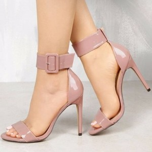 Pink Open Toe Stiletto Heels Patent Leather Ankle Strap Sandals