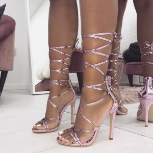 Pink Open Toe Stiletto Heels Strappy Sandals
