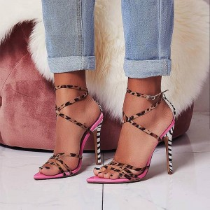Pink Patent Leather Leopard Print Stiletto Heel Ankle Strap Sandals