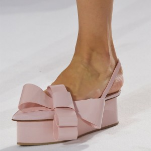 Pink Patent Leather Wedge Sandals Bow Slingback Platform Sandals