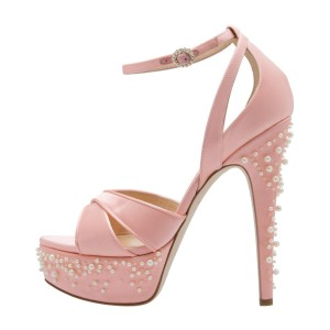 Pink Pearl Platform Ankle Strap Sandals Stiletto Heel Open Toe Sandals