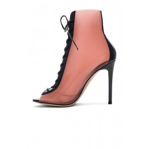 Pink Peep Toe Lace up Heels Patent Leather Ankle Boots