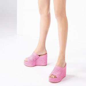 Pink Woven Platform Wedge Heels Mule Sandals