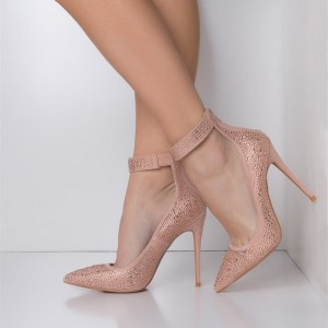 Pink Pointy Toe Ankle Strap Heels Rhinestone Stiletto Heel Pumps