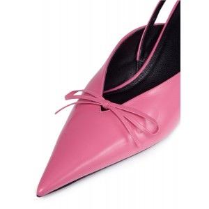 Pink Pointy Toe Bow Slingback Kitten Heels Pumps