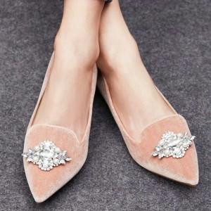 Pink Pointy Toe Flats Comfortable Ballet Shoes with Rhinestone
