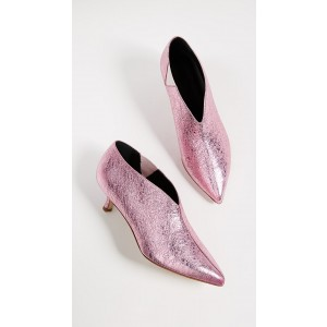 Pink Pointy Toe Kitten Heel Boots