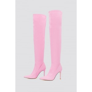 Pink Pointy Toe Stiletto Boots Knee-high Boots