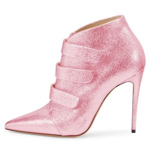 Pink Pointy Toe Stiletto Heel Ankle Booties