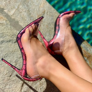 Pink Python Clear Heels Stiletto Heel Pumps
