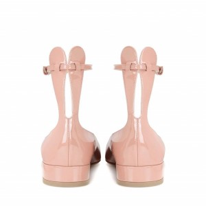 Pink Rabbit Ears Chunky Heels Cute Ankle Strap Pumps