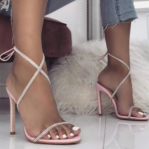 Pink Stiletto Heels Rhinestone Cross Over Strap Fashion Sandals
