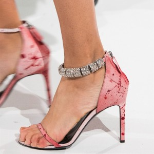 Pink Rhinestone Open Toe Stiletto Heels Zip Ankle Strap Heels Sandals