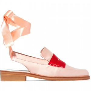 Pink Round Toe Chunky Heels Slingback Shoes Strappy Loafers for Women
