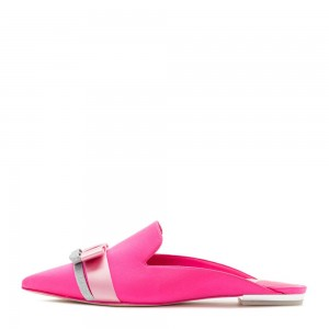 Pink Satin bow Flat Loafer Mules