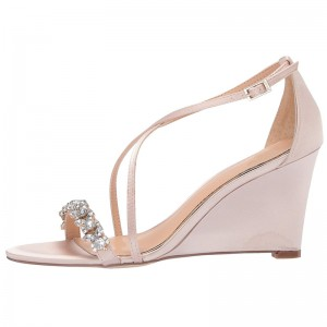 2019 Rhinestone Embellished Satin Crisscross Wedding Wedges in Pink