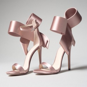 Pink Satin Cute Bow Sandals Open Toe Ankle Strap Sandals