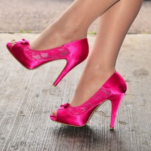 Hot Pink Satin Lace Bow Stiletto Heel Peep Toe Heels Pumps