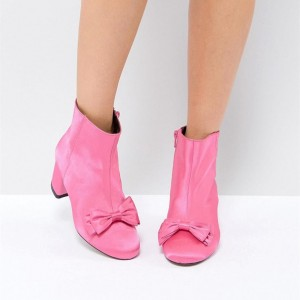 Women's Coral Bowknot Chunky heel Boots Fashion Suede Ankle Boots