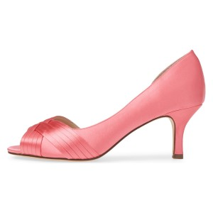 Pink Satin Peep Toe Kitten Heel D'orsay Wedding Shoes