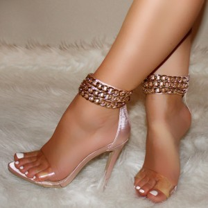 Pink Satin PVC Chains Stiletto Heel Ankle Strap Sandals