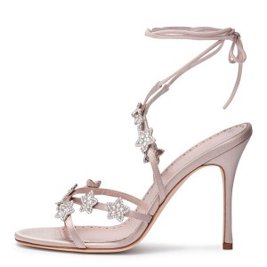 Pink Satin Rhinestones Cross Over Stiletto Heel Ankle Strap Sandals