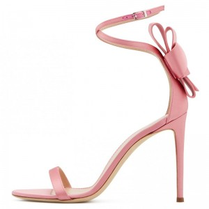 Pink Satin Bow Stiletto Heel Ankle Strap Sandals