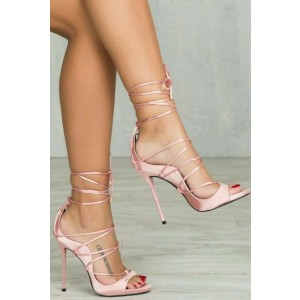 Pink Strappy Heels Sandals Open Toe Stiletto Heels Pumps for Women