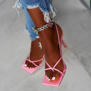 Pink Slingback Heels Square Open Toe Stiletto Sandals