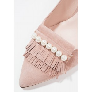 Pink Fringe Slingback Pumps Pointed Toe Pearls Stiletto Heels