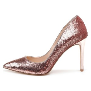 Pink Sparkly Heels Sequined Stiletto Heel Pumps