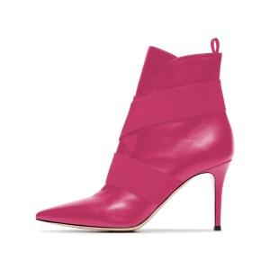 Pink Straps Pointy Toe Stiletto Heel Ankle Booties