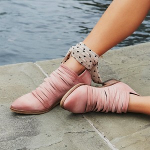Pink Straps Short Boots Almond Toe Ankle Boots