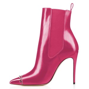 Pink Studded Pointy Toe Stiletto Boots Fashion Ankle Booties