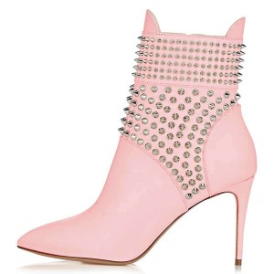 Pink Studs Shoes Stiletto Heel Ankle Boots