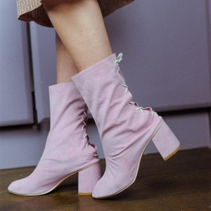 Pink Suede Boots Lace Up Chunky Heel Ankle Boots