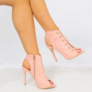 Pink Suede Button Peep Toe Booties Stiletto Heel Slingback Ankle Boots