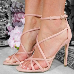 Pink Suede Cross Over Ankle Strap Heels Sandals