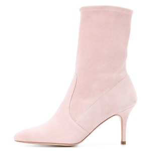 Pink Suede Fashion Boots Pointy Toe Stiletto Heel Ankle Boots