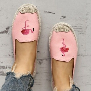 Pink Canvas Flamingo Comfortable Flats