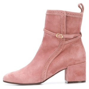 Pink Suede Hollow Out Buckle Block Heel Ankle Booties