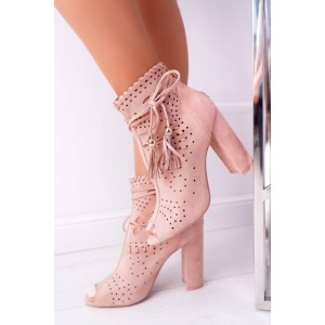 Pink Suede Hollow Out Tassel Chunky Heel boots Peep Toe Ankle Boots