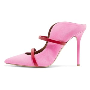 Pink Suede Pointy Toe Stiletto Gold Straps Heel Mules Pumps