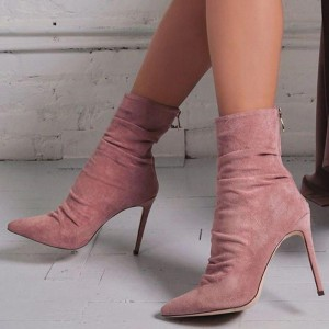 Pink Suede Stiletto Boots Pointed Toe Ankle Boots