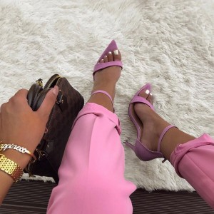 Pink Suede Stiletto Heels Ankle Strap Sandals for Women