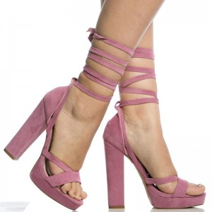 Women's Pink Open Toe Suede Chunky Heel Ankle Straps Sandals