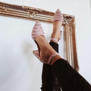 Pink Suede Studs Chunky Heels Ankle Strap Pumps