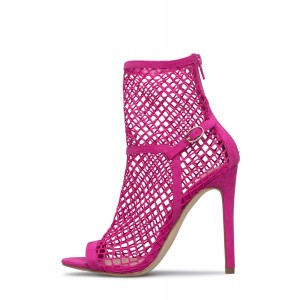 Pink Summer Boots Stiletto Heels Hollow out Open Toe Ankle Booties