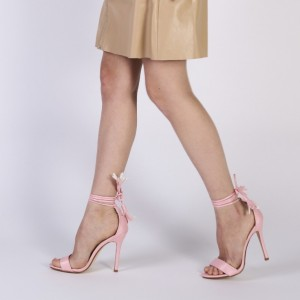 Pink Tassels Strappy Sandals Open Toe Stiletto Heels for Ladies